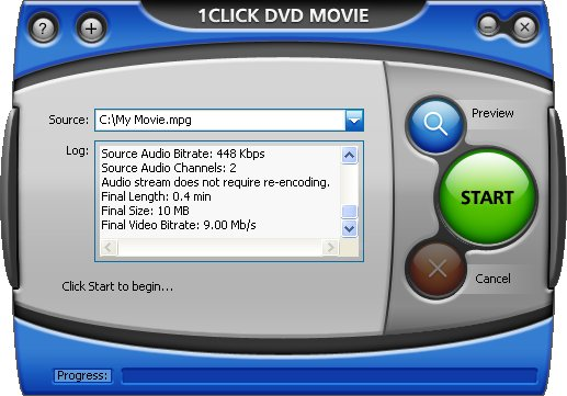 1CLICK DVD MOVIE converts movie files to DVD, VCD or SVCD.