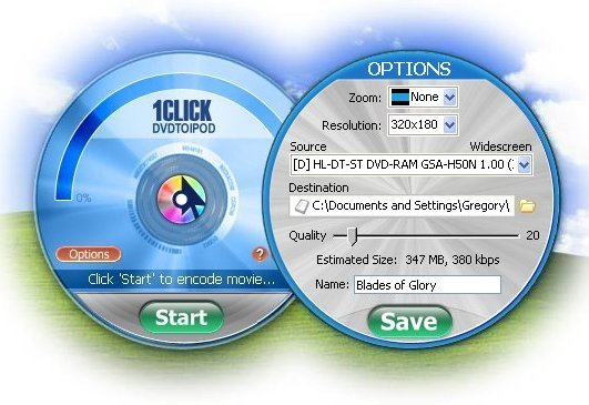 Click to view 1CLICK DVDTOIPOD 3.0.3.3 screenshot